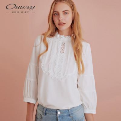 OUWEY歐薇 宮廷風雪紡蕾絲七分袖上衣(白)