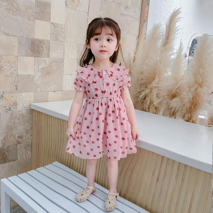 兒童連身裙 女童夏季裙子寶寶洋氣連身裙夏韓版雪紡兒童短袖裙公主夏裝新 免運  聖誕節禮物