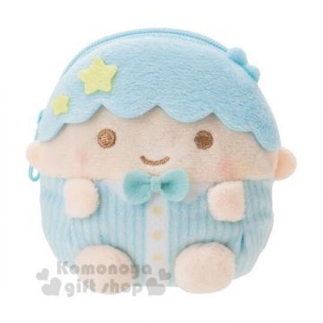 〔小禮堂〕雙子星KIKI 迷你造型絨毛零錢包《綠.耳機包》
