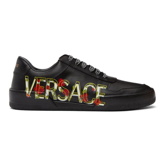 Versace 黑色 Floral Ilus 运动鞋