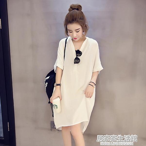 遮肚子顯瘦小個子洋裝休閒簡約韓風寬鬆直筒裙子2020年新款夏天 中秋節全館免運