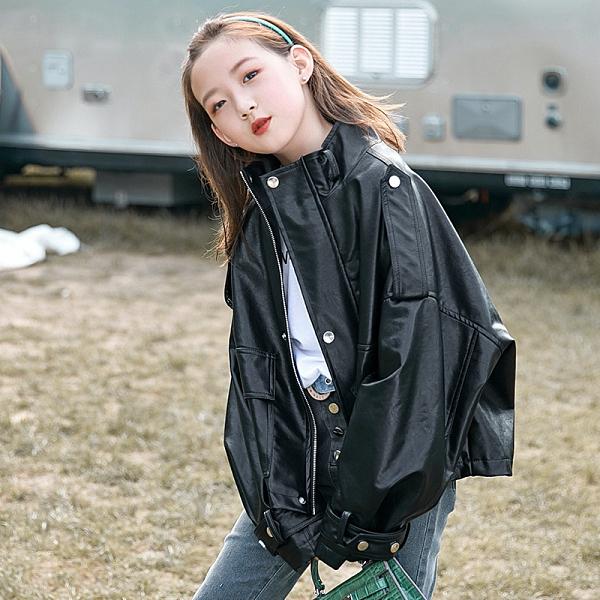 秋季中大童風衣夾克外套 皮衣百搭女童外套 時尚女孩女童外套 潮流女童外套 女童外套韓版外套