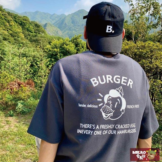 【AMERO】正韓 男裝圓領短袖T恤 美式風格 吃漢堡男孩塗鴉印花