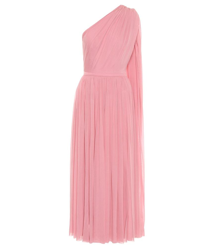 One-shoulder tulle midi dress