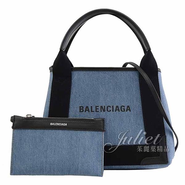 茱麗葉精品【全新現貨】BALENCIAGA 巴黎世家 390346 NAVY CABAS XS 單寧布手提兩用包.藍