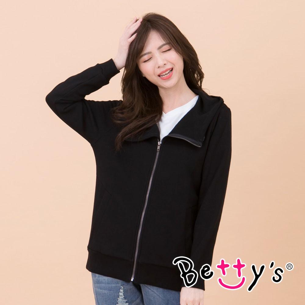 betty's貝蒂思 騎士風斜領連帽外套(黑色)