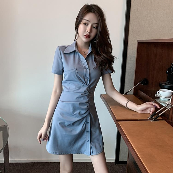 襯衫洋裝 流行女裝新款法式復古氣質收腰顯瘦翻領襯衫裙短袖遮肉連衣裙 - 風尚3C