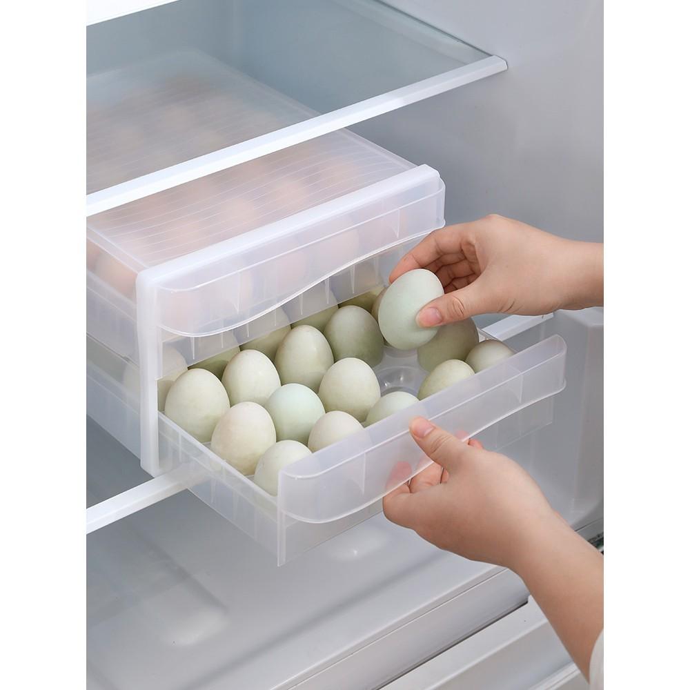 居家家透明雞蛋收納盒抽屜式冰箱食物保鮮盒裝蛋神器可疊加蛋托架 -