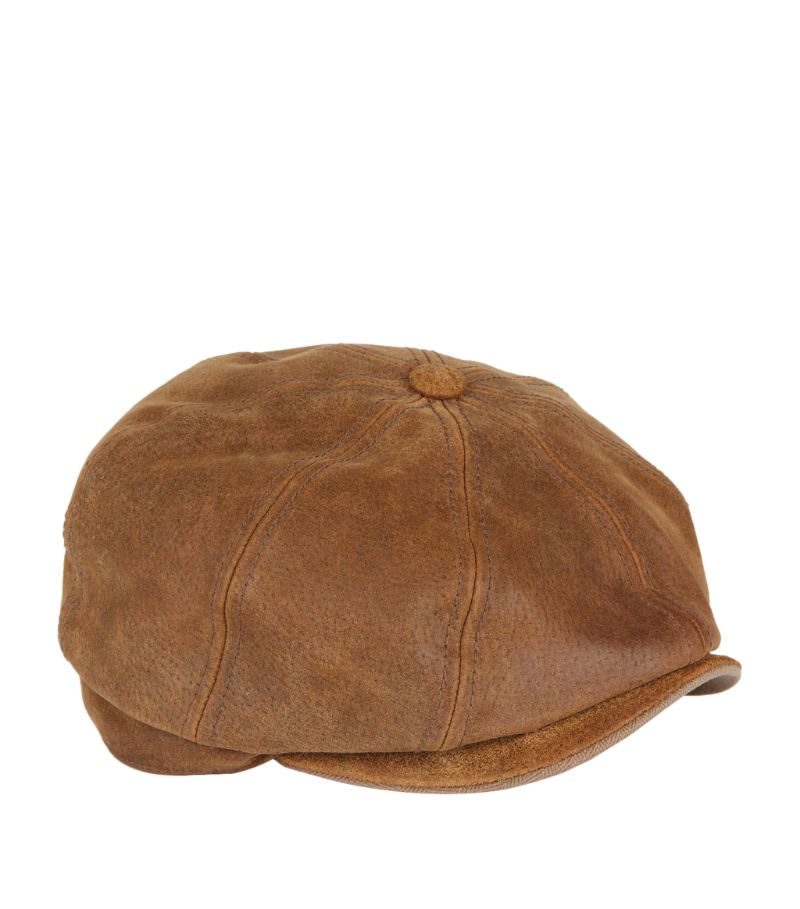 Stetson Burney Worn Leather Flat Cap