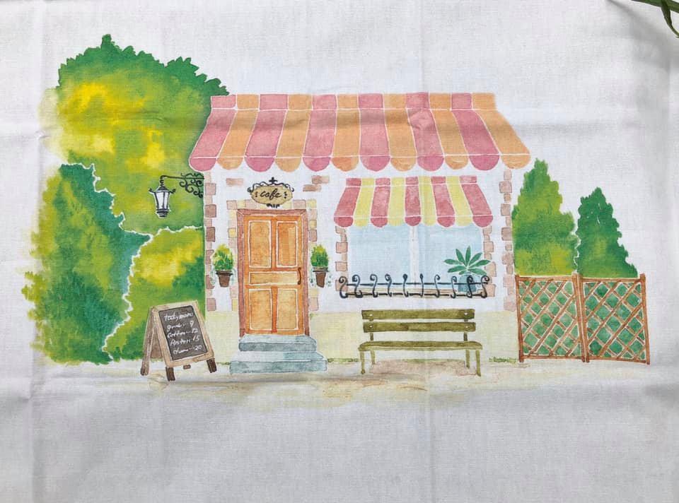 居家手作鄉村風水彩畫圖案布我的咖啡館~~布片