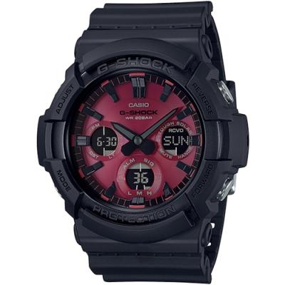 G-SHOCK 強悍不息黑紅設計風格太陽能雙顯錶-(GAS-100AR-1A)/52.5mm