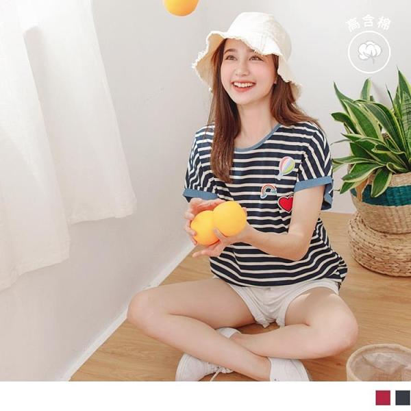 《AB13043》可愛貼布繡丹寧拼接高含棉條紋寬袖上衣 OrangeBear