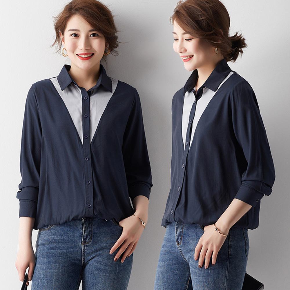 【麗質達人】EB15671灰藍色假二件上衣(L-5XL)