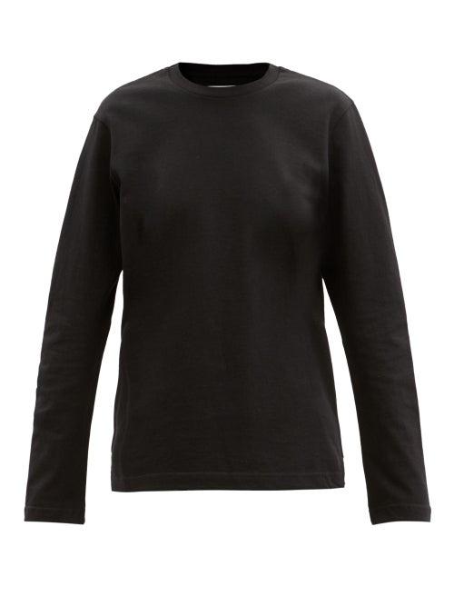 Bottega Veneta - Sunrise Long-sleeved Cotton-jersey T-shirt - Womens - Black