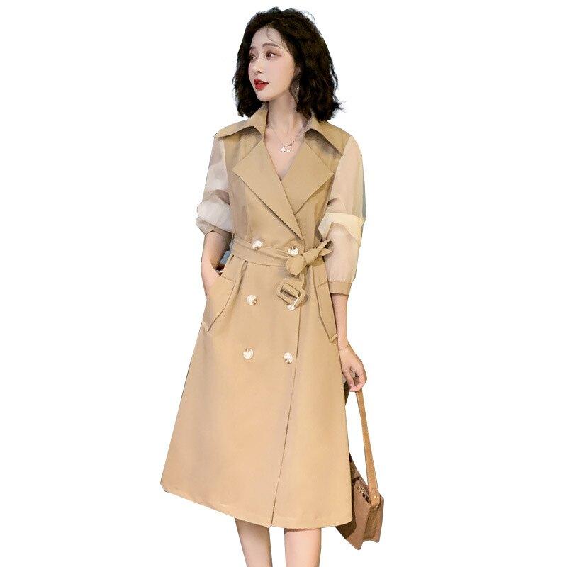 風衣大衣長版外套-拼接網紗雙排扣繫帶女外套2色73yt29【獨家進口】【米蘭精品】