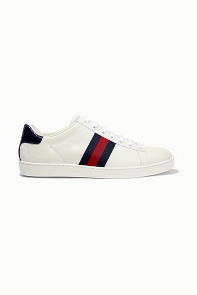 Gucci - Ace 水蛇皮帆布边饰皮革运动鞋 - 白色 - IT38.5