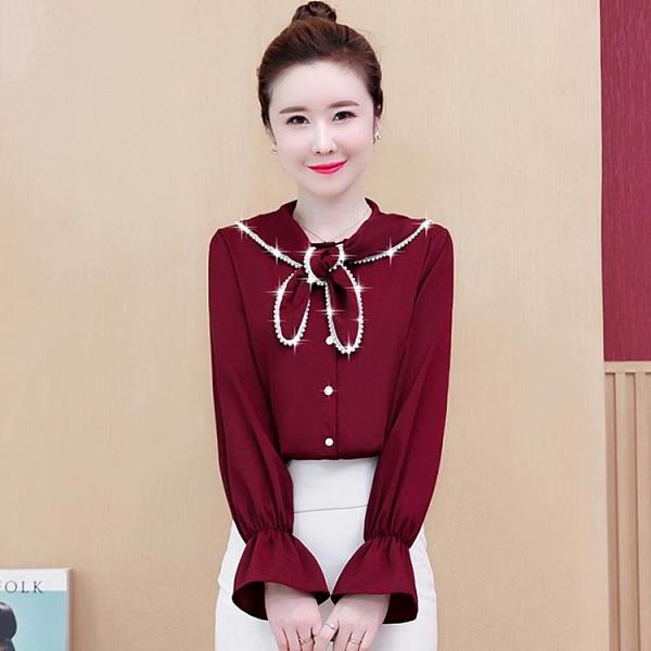 促銷特價 春秋新款女裝洋氣內搭小衫時尚很仙的女春季長袖上衣雪紡襯衫