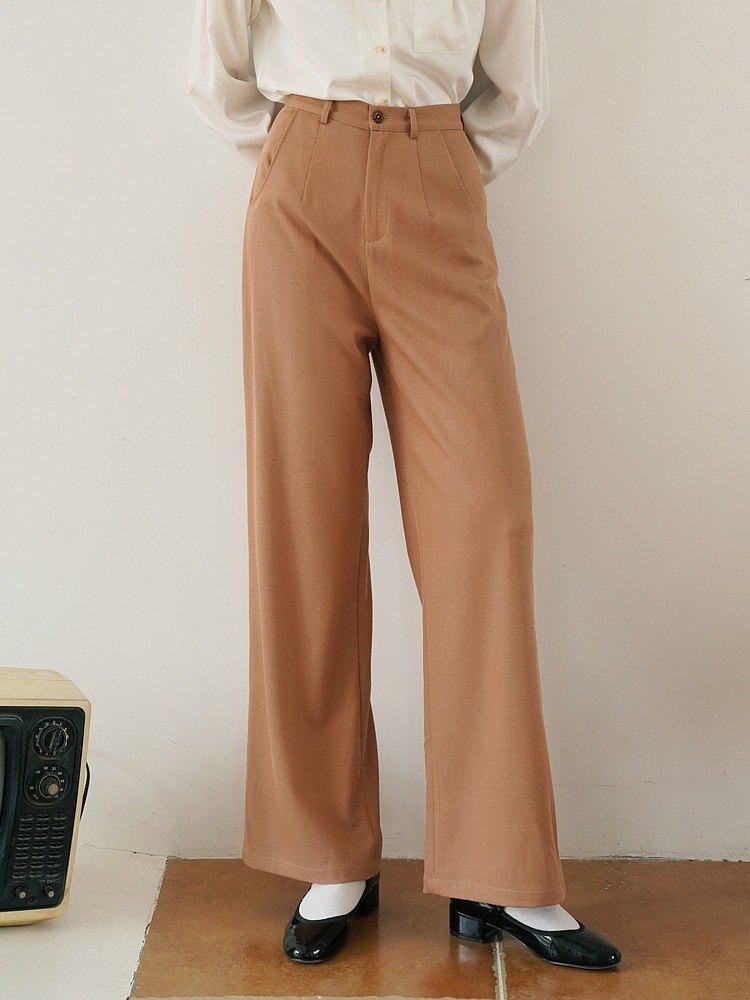 ECRU SOLI 素白已然秋冬日系簡約寬鬆闊腿 奶茶色加厚長褲