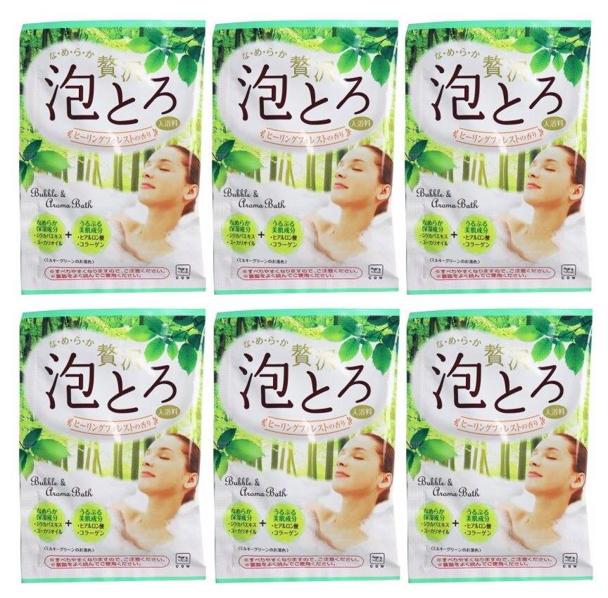 日本製 COW 牛乳石鹼 奢侈泡泡入浴劑(綠-森林香氣)30g/包X6 濃密泡泡*夏日微風*