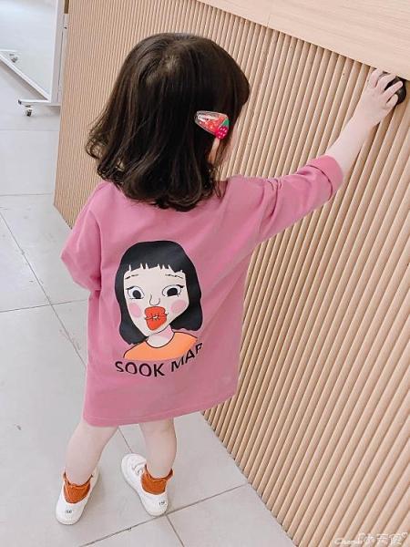 女寶寶長袖純棉T恤裙2021春秋裝女童洋氣中長款打底衫兒童連身裙 小天使 99免運