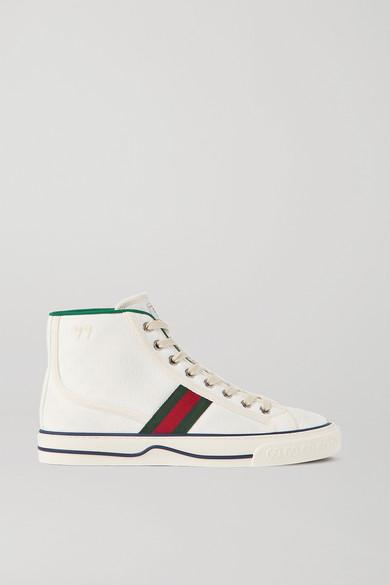 Gucci - Tennis 1977 品牌标志刺绣印花帆布高帮运动鞋 - 白色 - IT39