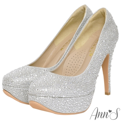 Ann'S自信女王-MIT手工滿鑽防水台厚底高跟鞋-銀