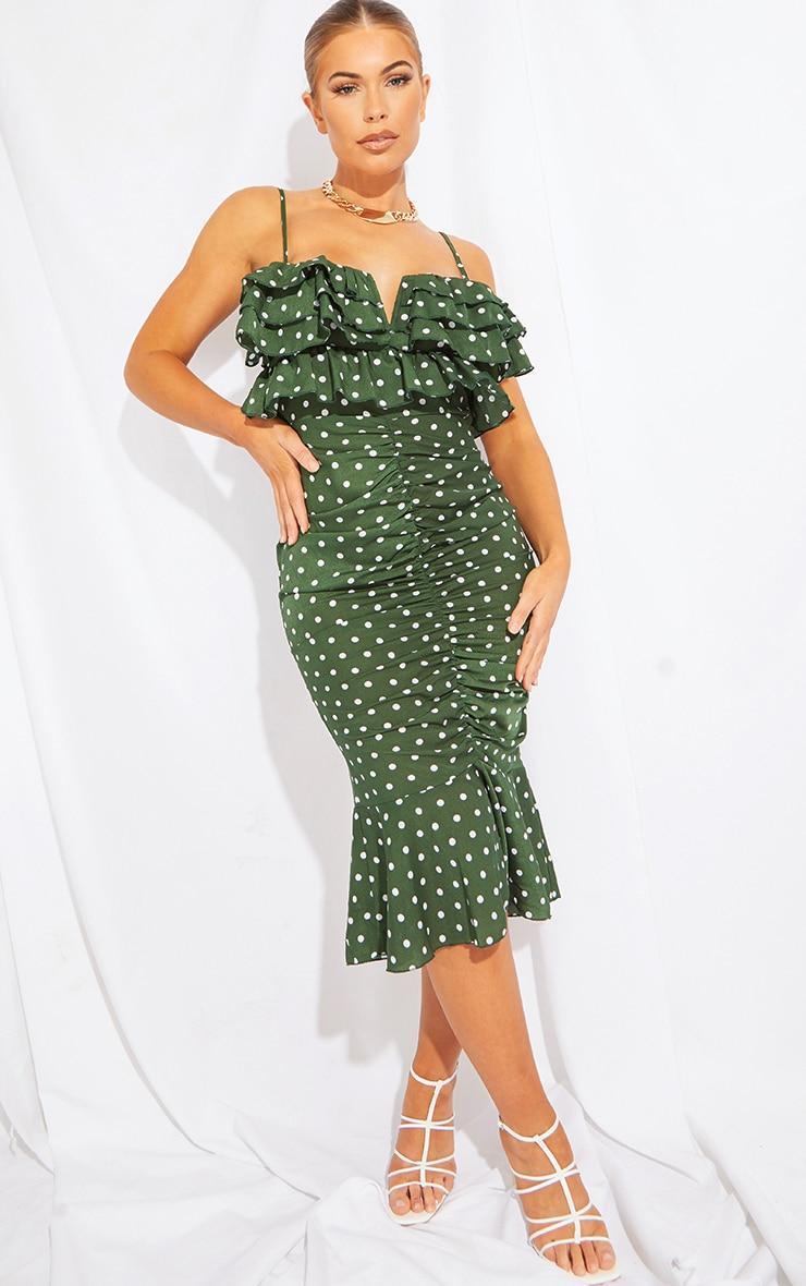 Emerald Green Polka Dot Ruffle Detail Gathered Front Midi Dress