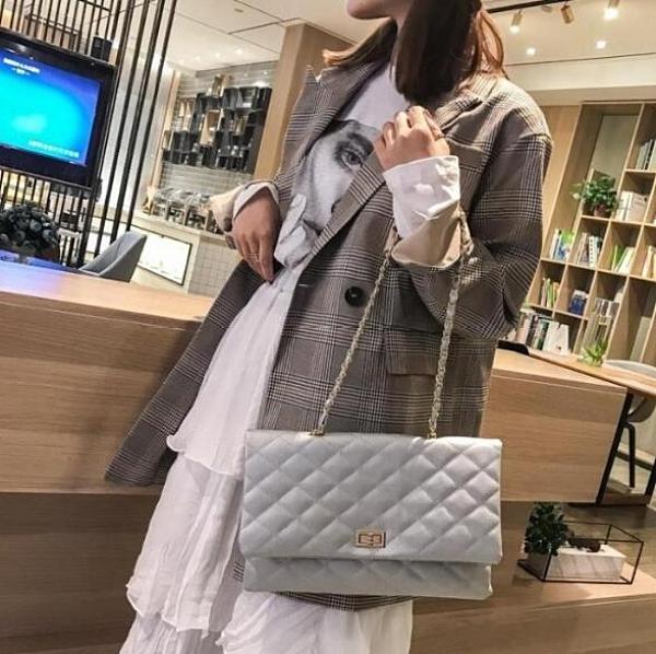 時尚大包包女2020新款潮韓版百搭斜背包菱格鍊條單肩手拿大信封包 向日葵
