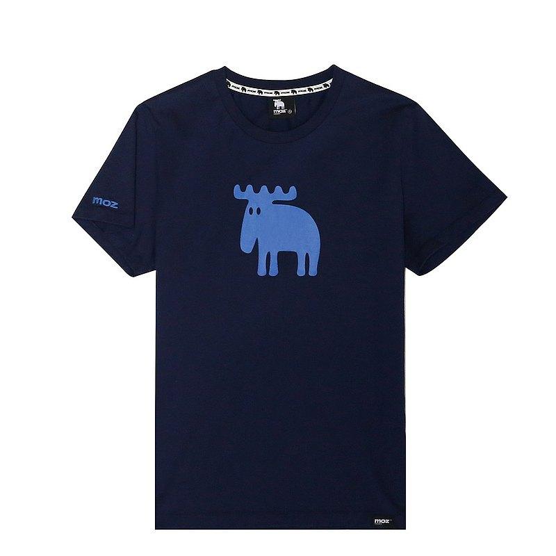 moz瑞典 駝鹿印花100%純棉短T(標準版)單寧藍(亞洲版)男款