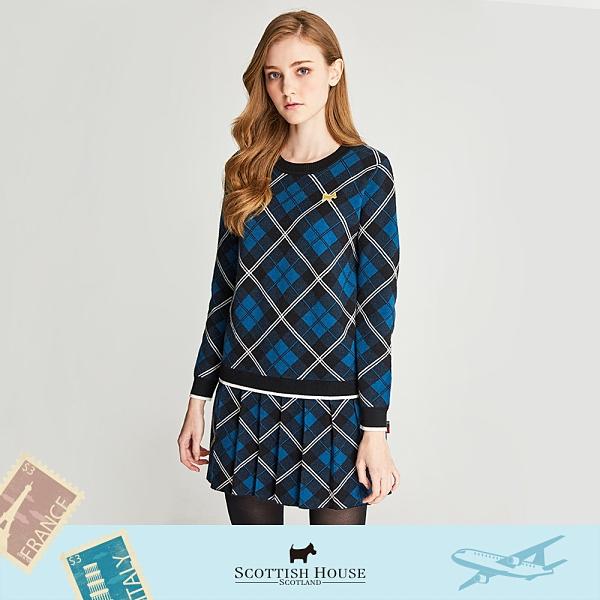 緹織格紋中厚長袖洋裝 Scottish House 【AL1480】