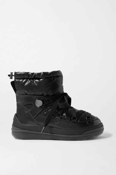 Moncler - Insolux 皮革带填充物软壳面料踝靴 - 黑色 - IT40.5