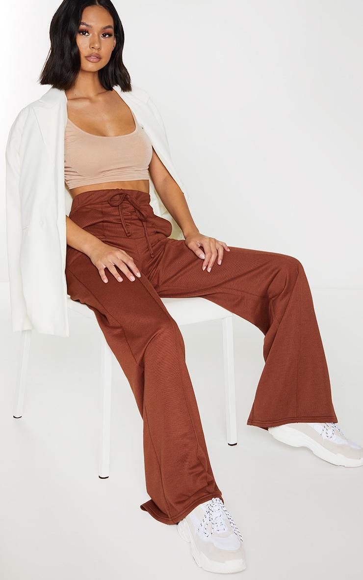 Chocolate Wide Leg Track Pants