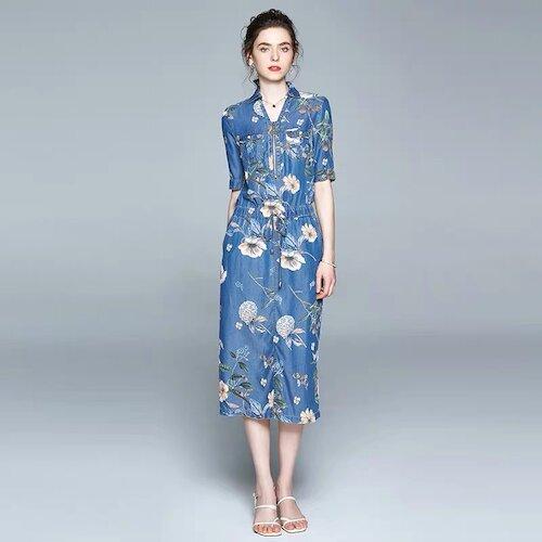 Olivia奧莉精品(M~2XL) 率性俐落收腰顯瘦套裝 小禮服 連身裙 洋裝 喜宴媽媽裝