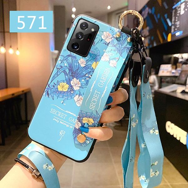 三星 Note20 Ultra 手機殼 花語腕帶防摔後殼 全包保護套 磨砂浮雕超薄防滑軟殼 保護殼 長短掛繩