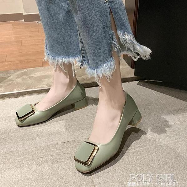 單鞋女2021春韓版方頭金屬扣淺口豆豆鞋女網紅百搭粗跟奶奶鞋女鞋 夏季新品