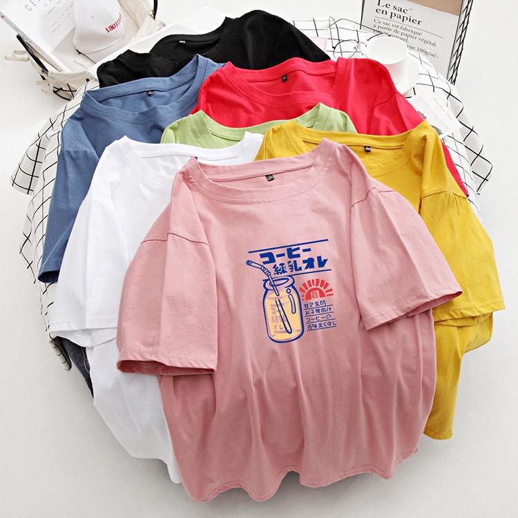 短袖T恤 寬鬆T恤 印花T恤 純棉T恤 多色可選大尺碼T恤女2020春新款純棉短袖胖妹妹夏裝韓版遮肚上衣潮