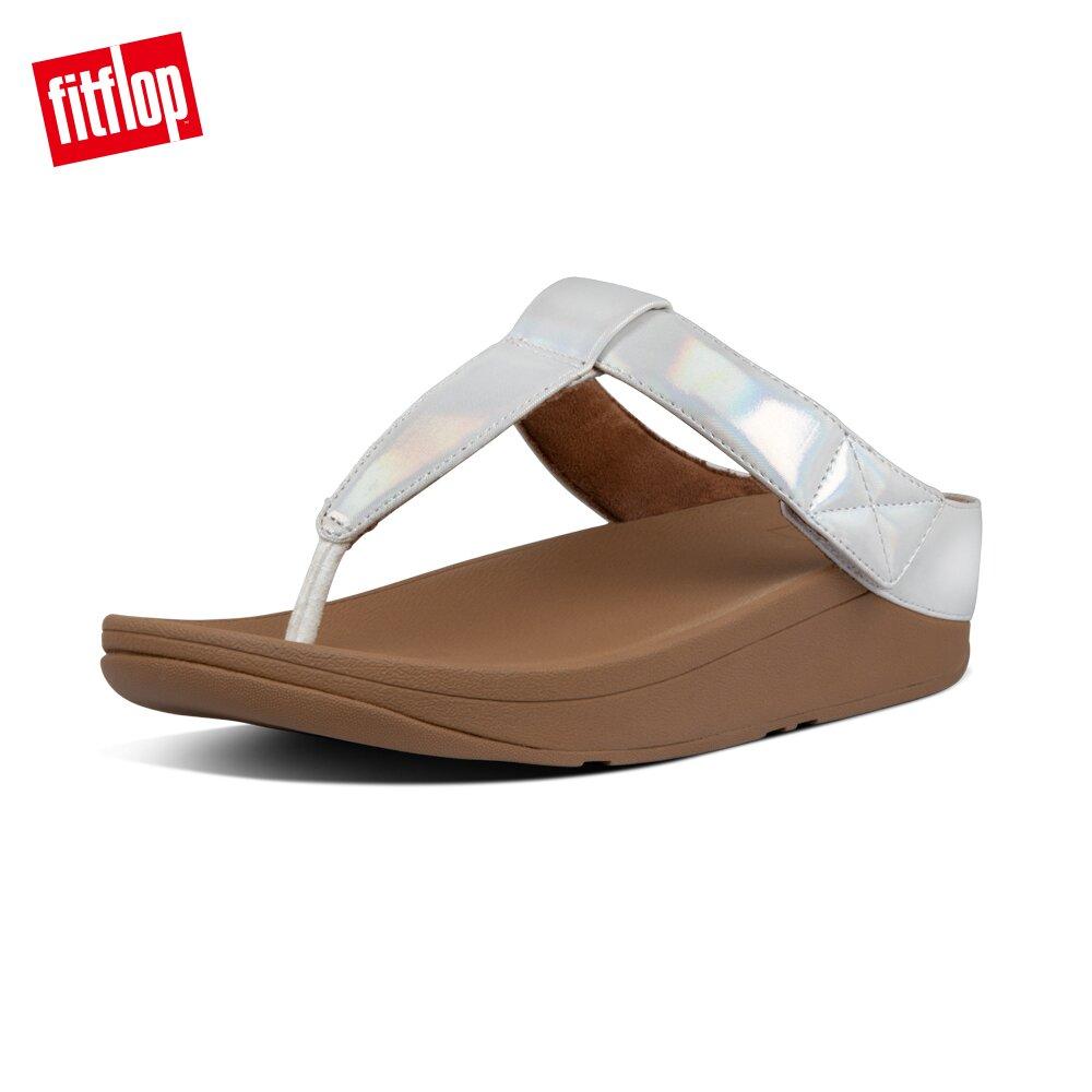 【FitFlop】MINA IRIDESCENT TOE-THONGS金屬光澤鞋面夾腳涼鞋-女(珍珠白)