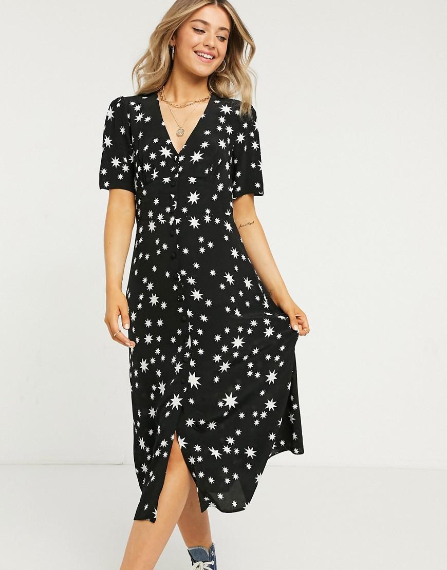 Nobody's Child button front midi tea dress in star print-Black