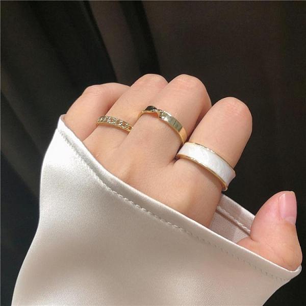 戒指 推薦款3只裝超值套裝戒指白色簡約ins風網紅指環組合食指戒女潮 韓國時尚週 免運