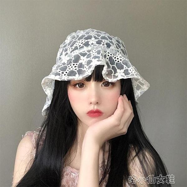 漁夫帽 韓國鬼馬系少女自留很仙蕾絲花朵漁夫帽ins鏤空透氣遮陽盆帽子夏 洛小仙女鞋