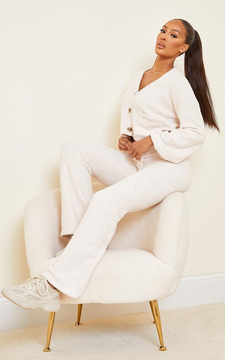 Cream Premium Fluffy Knit Wide Leg Set