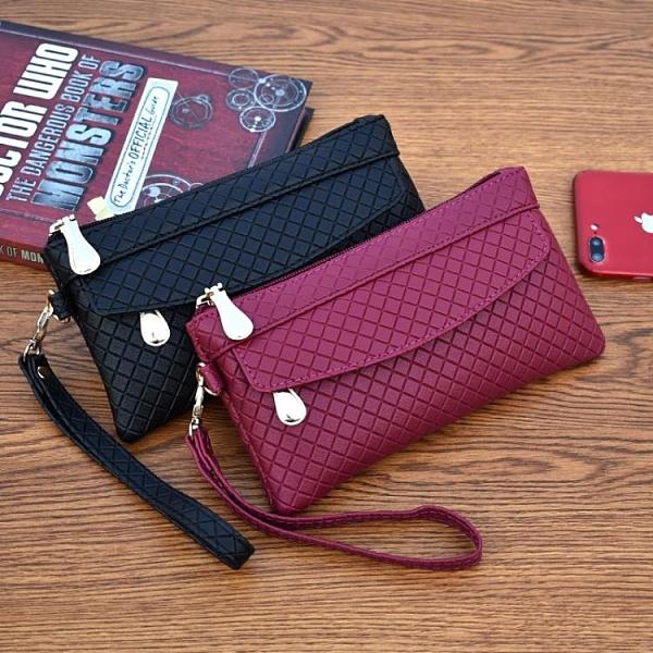 特惠全場九折 新款女錢包韓版手拿包潮爆簡約手機包氣質格紋零錢包小包