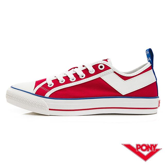 【PONY】Shooter系列低筒帆布鞋-女款-美國配色/紅
