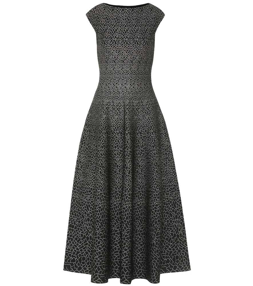 Stretch-jacquard midi dress
