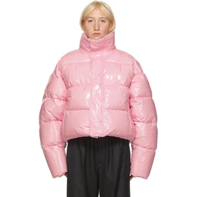 Balenciaga 粉色短款亮面填充夹克
