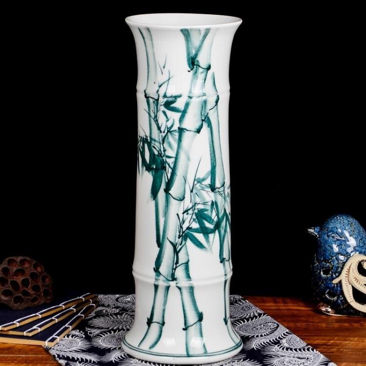 [全館免運]陶瓷手繪水培富貴竹落地花瓶插花器客廳家居裝飾品擺件