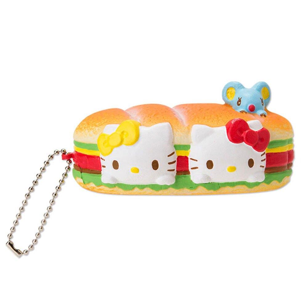 Hello Kitty麵包漢堡造型擠壓玩偶吊飾/紓壓玩具/紓壓小物