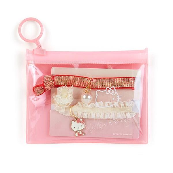 小禮堂 Hello Kitty 蕾絲緞帶彈力髮圈 附收納包 造型髮束 造型手環 (2入 紅粉) 4550337-56350