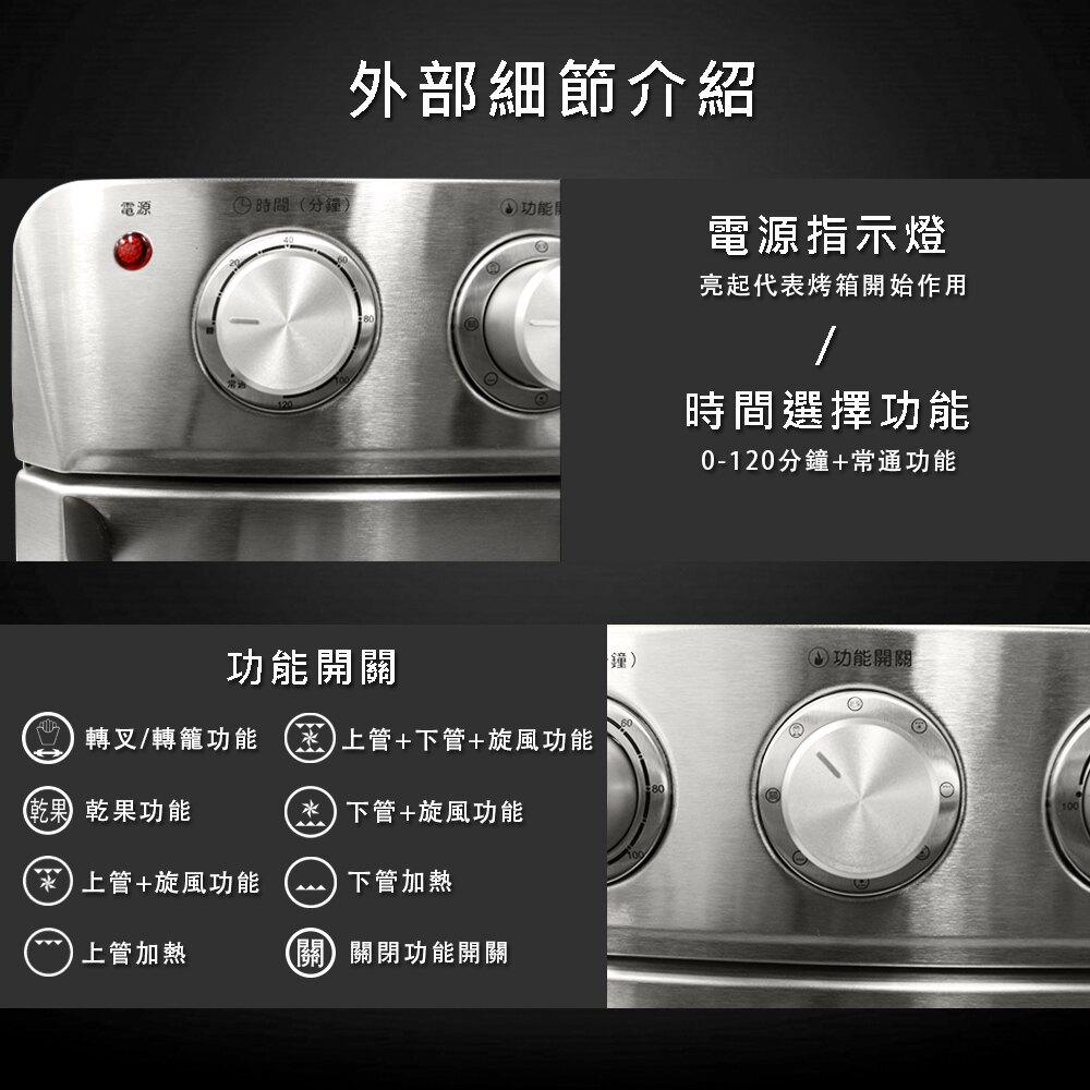 【Giaretti】多功能不鏽鋼氣炸烤箱(GL-9823)
