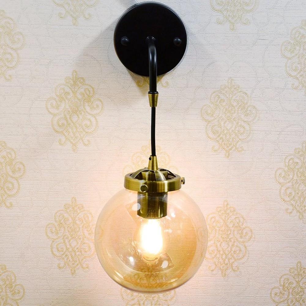 工業風北歐簡約琥珀球型玻璃燈罩壁燈 Amy F005-1 |現代風|簡約風流行燈飾【實體門市】